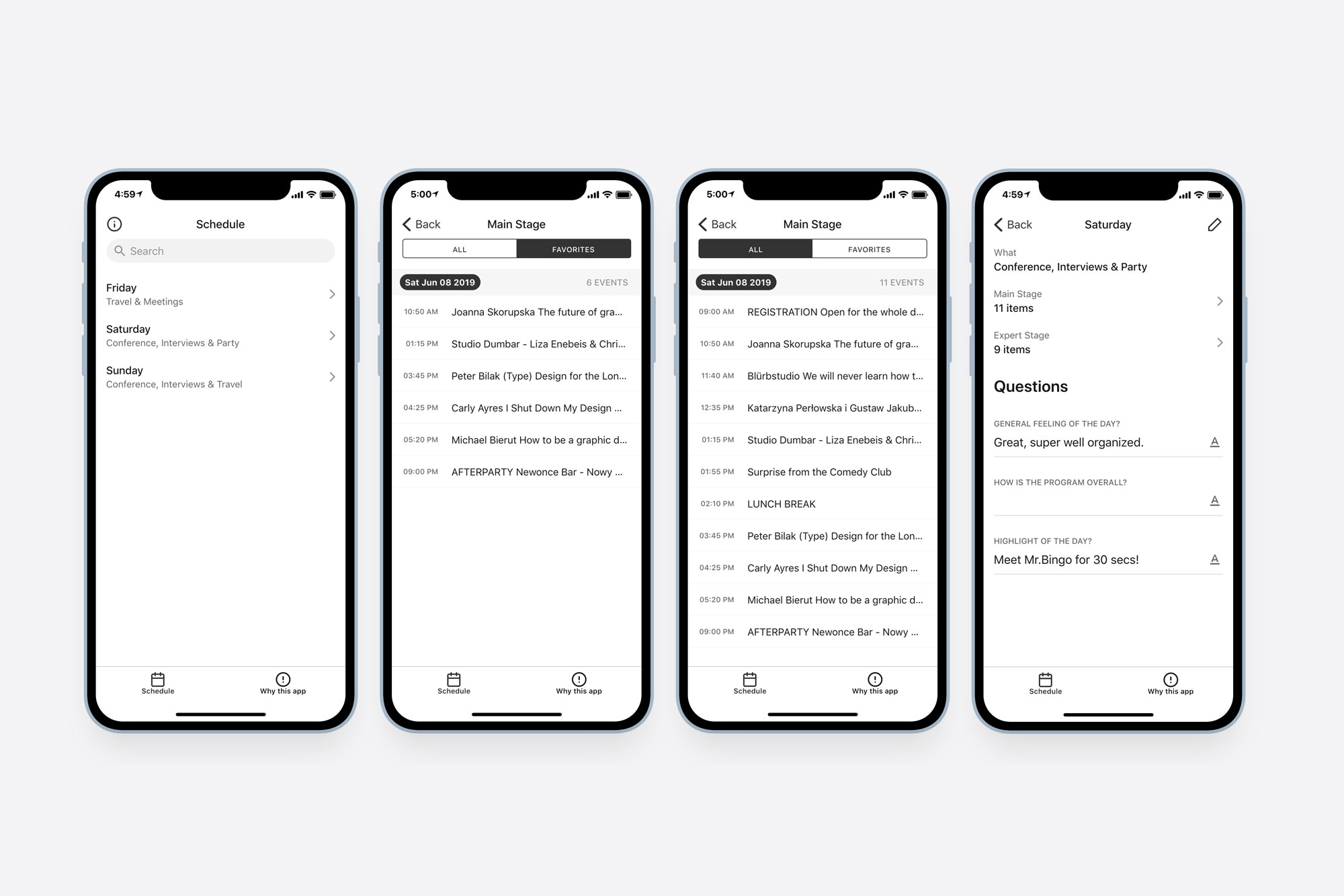 4 screen of documenting a conference app